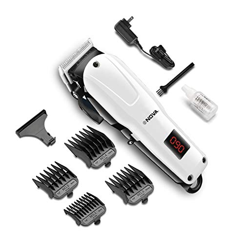 Nova NHT 1083 Professional Rechargeable & Cordless: 120 Minutes Runitme Digital Hair Clipper for Men (White)
