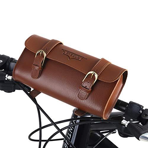 SOONHUA Fahrradtasche Retro-Art Kunstleder Wasserdicht Fahrrad Frontrahmen Tasche Fahrradtasche Fahrradzubehör
