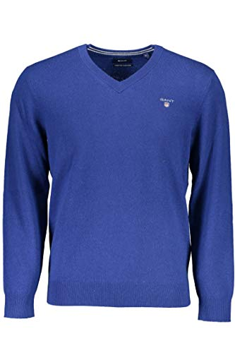 GANT Superfine Lambswool V-Neck Sweater suéter, Azul (Yale Blue), Medium para Hombre