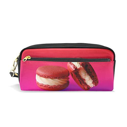 PU Leder Federmäppchen Etui für Macaron Sandwich Keks Kosmetik Make-up Multifunktionstasche mit Reißverschluss Büro Schreibwaren für Kinder, Teenager, Jungen, Mädchen, Männer, Frauen