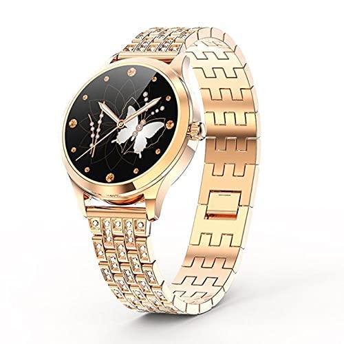 zyz LW10 Nuevo Reloj Inteligente Señoras IP68 IP68, Dial DIY, Pantalla Redonda 2.5D, Ritmo Cardíaco Y Monitor De Presión Arterial, Reloj De Recordatorio De Llamadas,Oro