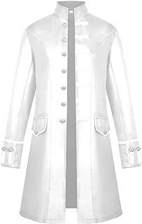 KJHSDNN Uomo Gothic Uniforme Redingote Vittoriana Cosplay Cappotto con Colletto Dritto Stile Steampunk Maschi Giacca Tinta...