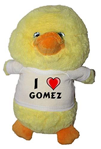 Shopzeus Pato de Peluche (Juguete) con Amo Gomez en la Camiseta (Nombre de Pila/Apellido/Apodo)