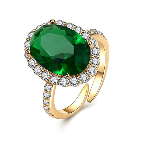 Cz Emerald Rings for Women - Simulated Emerald Solstice Ring AAAA Cubic Zirconia Open Band Rings, Adjustable for US 5-9 (Emerald Green, Adjustable)