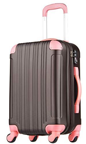 (レジェンドウォーカー) LEGEND WALKER 超軽量 Wファスナー容量アップ拡張機能付 スーツケース (17色4サイズ) おしゃれでかわいい キャリーケース スムーズな移動が可能な4輪タイプ (Lサイズ(7泊以上/88(拡張時102)L), チョコ