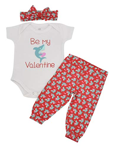 Unique Baby Girl Be Mine Shark Valentine's Day Layette Headband (Newborn) Red