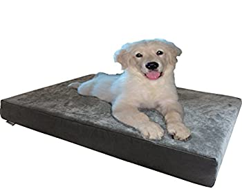 Dogbed4less Orthopedic Gel Cooling Memory Foam Dog Bed with Waterproof Liner and External Durable Suede Cover for Small to Medium Pet 35X20X4 Inches