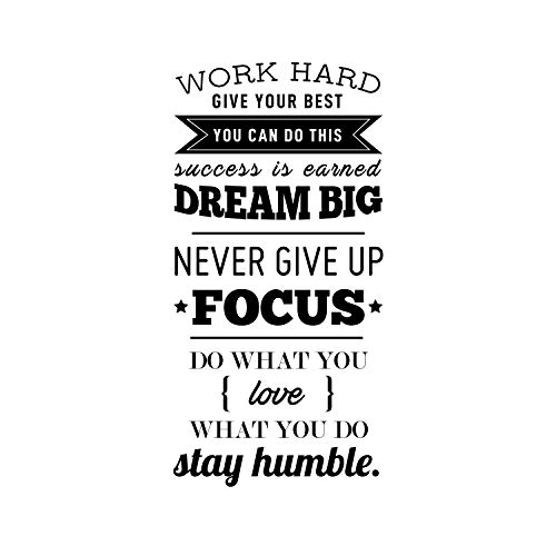 "Vinyl Wall Art Decal - Work Hard Give Your Best You Can Do This - 40"" x 20"" - Motivational Home Living Room Office Quote - Positive Modern Bedroom Dorm Room Apartment Indoor Outdoor Wall Decor (Black)"