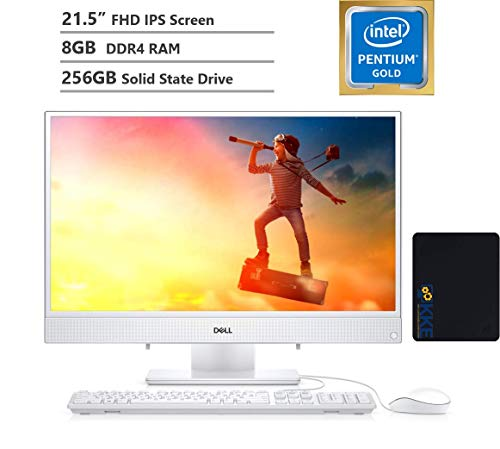 "Dell 2020 Inspiron 22 All-in-One Desktop Computer 21.5"" FHD IPS Display,Intel Pentium Gold Processor 5405U, 8GB DDR4 RAM, 256GB SSD, HDMI, Wireless-AC, Bluetooth, KKE Mousepad Bundle, Win10"