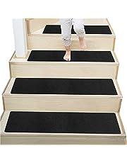 DLD Alfombrillas Antideslizantes de Madera para escaleras, de 76,2 x 20,3 cm, Antideslizantes, Antideslizantes, para escaleras, Color Negro, Paquete de 7