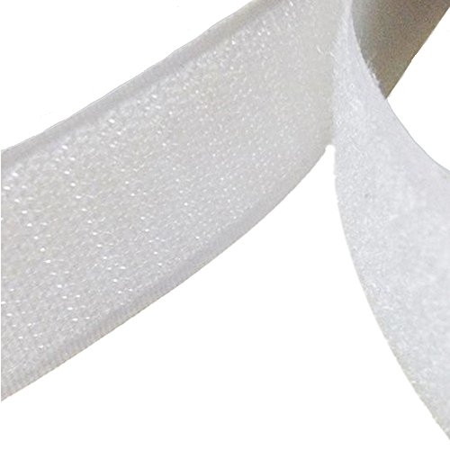 TRIXES 2,5 Meter weiße Selbstklebende Klettstreifen anpassbar zurechtschneidbar