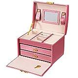 A&B Clever Joyero Organizador de Joyas de Tres Capas de Piel sintética con Espejo y Cierre para niñas y Mujeres Regalo (Color: Rosa)