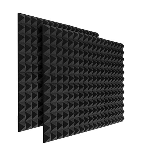 24 x Platten Akustikschaumstoff Noppenschaumstoff Akustik Schaumstoff Akustische Schalldämmplatten zur effektiven Akustik Dämmung für Studio Hause Schwarz ca. 25x25x5cm