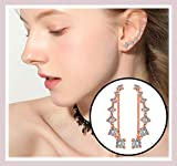 Rose Gold 7 Crystals Ear Cuffs Hoop Climber S925 Sterling Silver Earrings Hypoallergenic Earring