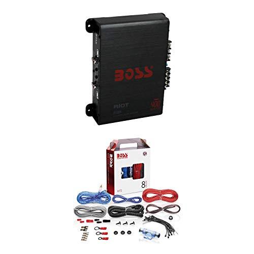 BOSS R1004 400W 4-Channel RIOT Car Audio Power Amplifier Amp + 8 Gauge Complete Car Amplifier Installation Wiring Kit