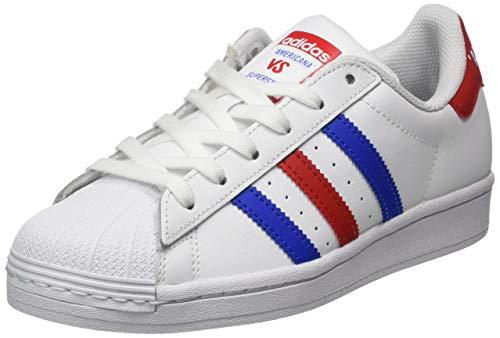 adidas Superstar J, Scarpe da Ginnastica Bambino, Ftwr White/Bright Blue/Team Colleg Red, 38 2/3 EU