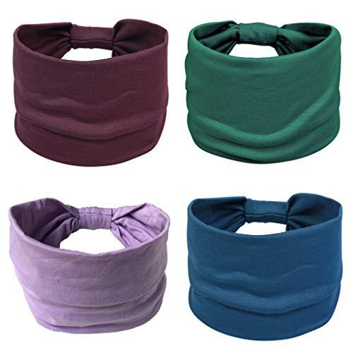 Lulucheri Headbands for Women, 4 Pack Wide Headbands, Fashion Elastic Boho Turban, Non-slip Yoga Workout Wide Floral Head Wraps for Women/Men/Sport/Running