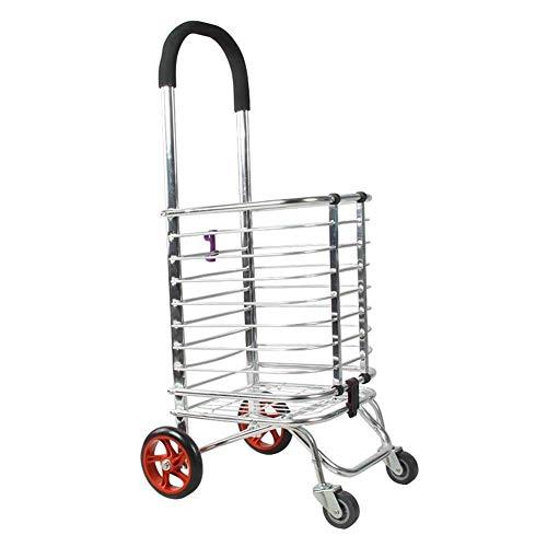 NYDZDM Carrito de compras portátil de aleación de aluminio para supermercado con ruedas para escalar, plegable, vehículo utilitario antideslizante, pequeño carro (color: C)