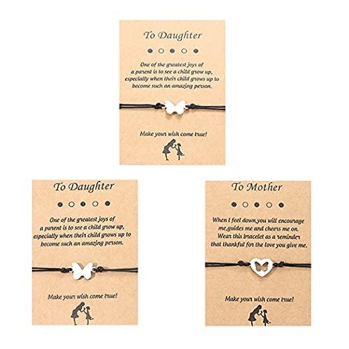 Branets Pulseras de compromiso Pinky de 3 piezas de amistad, pulsera a juego con distancia familiar, pulseras de deseos para mujeres y niñas