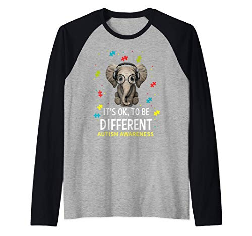 Está bien ser diferente Concienciación sobre el autismo Camiseta Manga Raglan