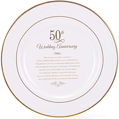 Dicksons Gold Tone 50th Wedding Anniversary 12.5 x 12.5 Porcelain Table Top Plate and Sign Plaque