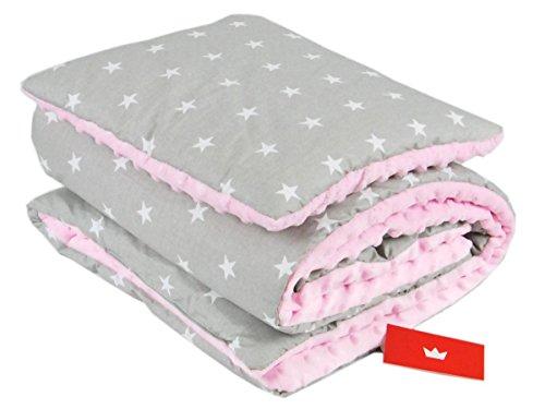 BABYLUX Babydecke Krabbeldecke MINKY Kuscheldecke Decke 75 x 100 cm mit KISSEN 30x35cm (4K. Rosa + Sterne)