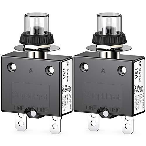 CLDIY Thermischer Schutzschalter, 98 Serie 13A 125 / 250VAC Drucktasten-Reset für Schutzschalter mit Schnellanschlussklemmen und wasserdichter Tastenabdeckung 32VDC, 2 Stck