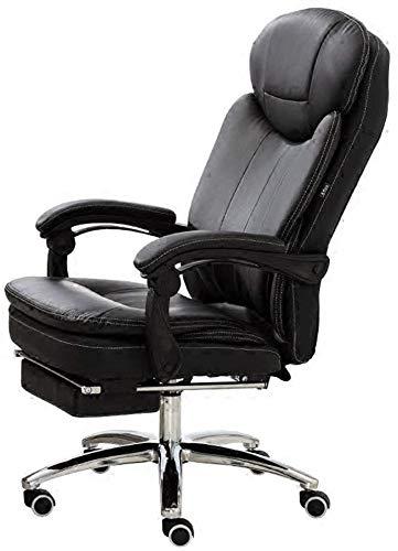 Poltrone GSN Chair Recline PU Imbottitura in Pelle scrivania Sedia 180 Sedia ° un'inclinazione Computer con esteso poggiagambe reclinabile e Cuscinetto di Peso 150kg (Color : Black)