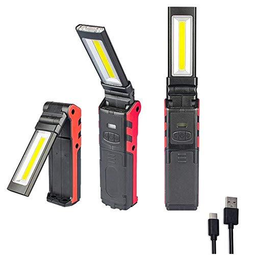 Tanouve Torcia LED Ricaricabile,Lampada da Lavoro COB Portatile, con Magnetica e Gancio Appeso, Per Campeggio Esterna Autofficina