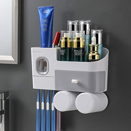Suksadum Zahnbürstenhalter mit automatischem Zahnpastaspender, Wandmontage, Zahnbürsten-Organizer, 2 Tassen und Schubladen, Kosmetik-Organizer für Badezimmer und Waschraum