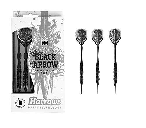 Outletdelocio. Juego 3 Dardos Harrows Modelo Black Arrow. Laton 100%. 16 Gramos. Punta plastico