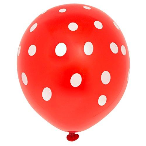 Unique Party-Paquete de 6 globos de látex a lunares, color rojo, (57592)