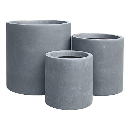 Kante RC0119ABC-C60121 Set of 3 Lightweight Concrete Outdoor Modern Cylindrical Planters, 15.8, 12.6 and 9.8 Inch Tall, Charcoal