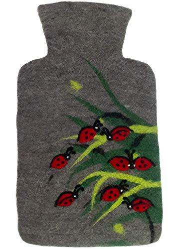 feelz Wärmflasche gefilzt Marienkäfer Filz Wolle (Merino) Wärmflaschenbezug Handarbeit Glück - Fairtrade