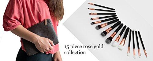 Lot de 15 pinceaux de maquillages avec étui de rangement - couleur or rose