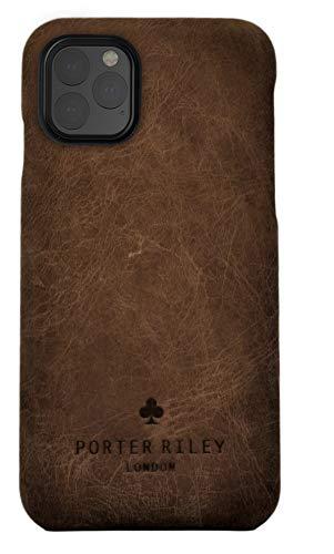 Porter Riley - Custodia per iPhone 11 PRO Max (6.5'). Custodia/Cover/Supporto/Ultrasottile in Vera Pelle Sottile di Prima qualità. (Marrone Cioccolato)