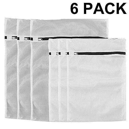 COMSUN Wäschenetze, 6er-Set, Premium Wäschebeutel, Wäschesack, Wäschetasche mit Reißverschluss, Ideal für Waschmaschine, wiederverwendbar (Schwarz)