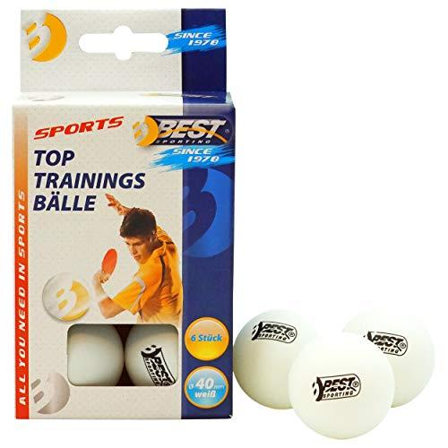 Best Sporting Tischtennisbälle, Qualität: 1 Stern, 6 Stück, Farbe: Weiß