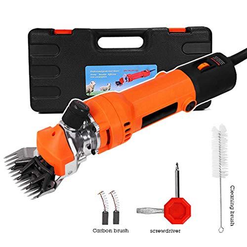 AMITD 6-voudig verstelbare wolfader, 680 watt elektrische schaar, wolschaar, dierenhaarsnijmachine, elektrisch gereedschap voor dierenhoud, met kunststof gereedschapskist, 220 V, zwart Orange oranje
