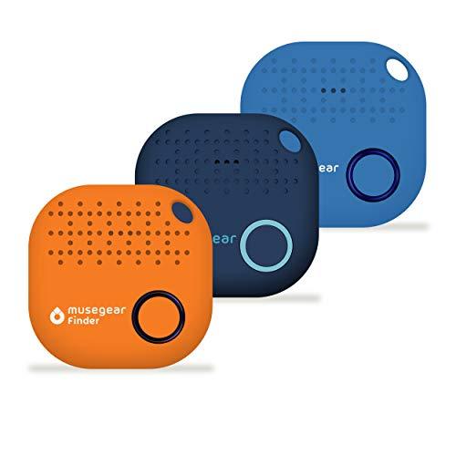 musegear Schlüsselfinder mit Bluetooth App aus Deutschland I Maximaler Datenschutz I 3er Pack I Xmas Limited Edition | dunkelblau, orange, hellblau