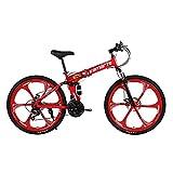 Faltbares Mountainbike, Offroad-Mountainbike, Mountainbike Mit Variabler Geschwindigkeit FüR Erwachsene, StoßDäMpfung, Rahmen Aus Kohlenstoffstahl (Sechsmesserrad-rot)