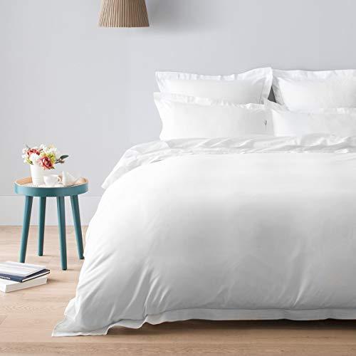Cotton & Co – Funda de edredón de satén de algodón egipcio de 120 hilos – 300 TC London, blanco, 240_x_290_cm