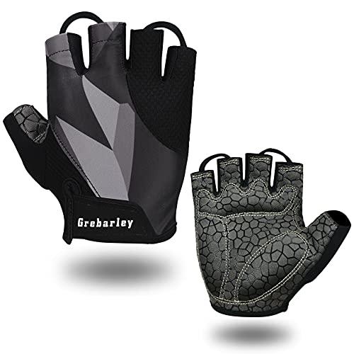 Grebarley Cycling Gloves for Men MTB Gloves Women Bike Gloves Anti-slip Shock-absorbing Breathable Half Finger Bicycle Biking Gloves