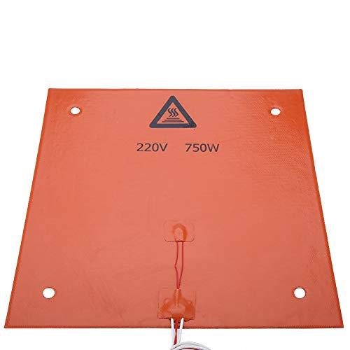 Tangxi - Cuscinetto riscaldante ad alta temperatura, 12 V, 220 V, 3D, accessorio per stampante in silicone, letto caldo, 120 Watt, 200 Watt, 600 Watt, 750 Watt (arancione 310 x 310 mm)