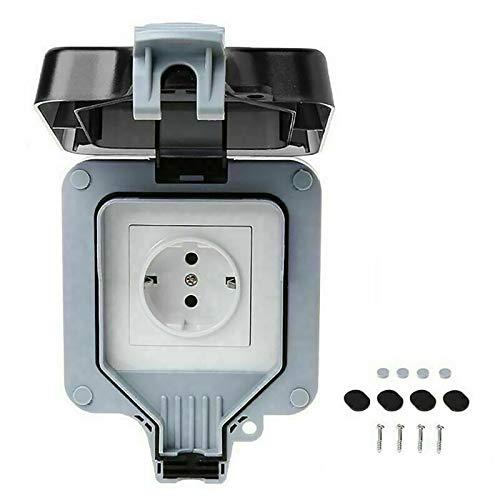 Fuobecie Caja de enchufes, IP66 a prueba de agua Dos estilos, Caja de enchufes eléctricos de pared Con interruptor de uso exterior Cubierta de enchufes