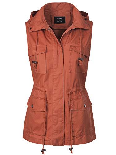 MixMatchy Women s Drawstring Lightweight Loose Fit Sleeveless Vest Utility Jacket Rust M