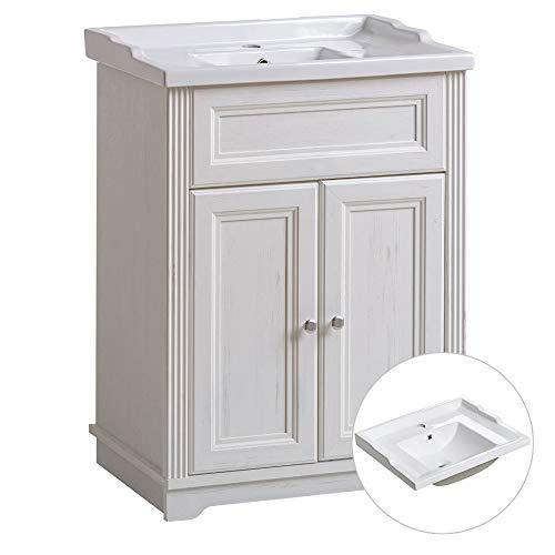 Lomadox Badmöbel Waschtisch-Unterschrank 60cm mit Keramik-Waschbecken, Vintage Landhausstil, Pinie weiß