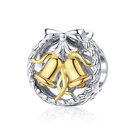 Gouden klokken kerstbel ronde metalen kralen voor vrouwen sieraden maken 925 Stelring zilveren bedeltje fit armband DIY Bijoux