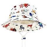 DRESHOW - Cappello parasole per bambini, con protezione solare UPF 50+, unisex, con animali, cappello da pescatore per l'estate con sottogola Animali avorio. 2-4 anni