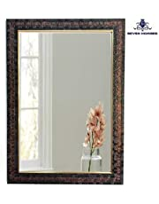 SEVEN HORSES Synthetic Wood Bathroom Mirror (15 x 21 inch, Brown)